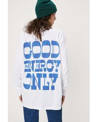 Nasty Gal T-shirt ample à impressions good energy only - Blanc