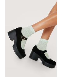 Nasty Gal Faux Suede Chunky Mary Jane Shoes - Black