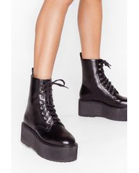 Nasty Gal Welcome Toe The Club Faux Leather Lace-up Boots - Black