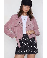 "Nasty Gal ""corduroy Moto Jacket With Asymmetric Zip"" - Pink"