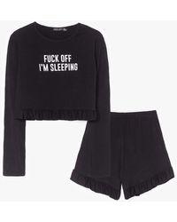 Nasty Gal Fuck Off I'm Sleeping Ruffle Shorts Pyjama Set - Black