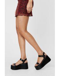 Nasty Gal Faux Leather Open Toe Platform Sandals - Black