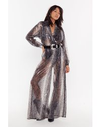 "Nasty Gal ""snake A Run For It Sheer Sequin Jumpsuit"" - Gray"