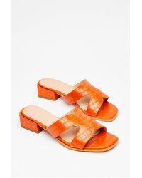 Nasty Gal Cut 'em Loose Faux Leather Croc Sandals - Orange