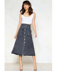 Nasty Gal - Stuck In The Midi With You Denim Skirt - Lyst