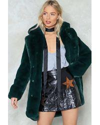"Nasty Gal ""surfin' Bird Faux Fur Coat"" - Green"
