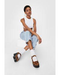 Nasty Gal Chaussures Mary Jane Chunky À Plateforme Et Imprimé Léopard - Neutre