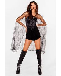 Nasty Gal Let's Vamp Things Up Longline Lace Cape - Black