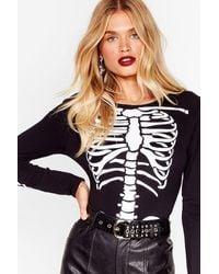 Nasty Gal Halloween Skeleton Bodysuit - Black
