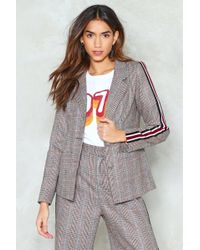 Nasty Gal - Stripe It From The Record Check Blazer - Lyst