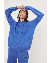 Nasty Gal Athletisme Oversized Coord Hoodie - Blue
