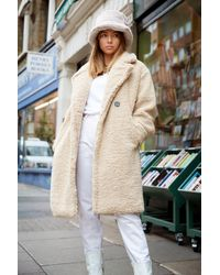 "Nasty Gal ""ready Teddy Go Oversized Faux Fur Coat"" - Natural"