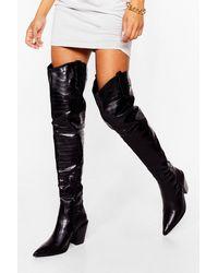 Nasty Gal Way Up Thigh Western Thigh-high Boots - Black