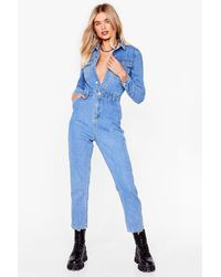 Nasty Gal Keep A Look Out Relaxed Denim Boilersuit - Blue
