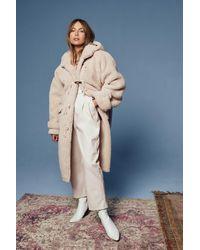 Nasty Gal Oversized Longline Toggle Teddy Coat - Natural