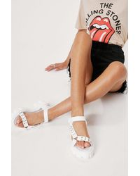Nasty Gal Faux Leather Cleated Studded Sandal - White