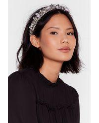 Nasty Gal Woven You Wrong Pearl Embellished Headband - Black