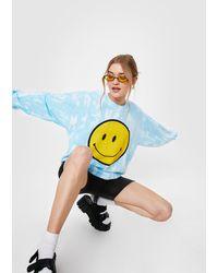 Nasty Gal Smiley Face Tie Dye Oversized Graphic Sweatshirt - Blue