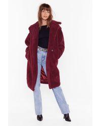 "Nasty Gal ""warm Love Faux Fur Coat"" - Red"