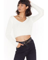 """Nasty Gal """"this Is Knit Cropped Sweater"""" - White"""