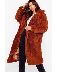 Nasty Gal We're Teddy Faux Fur You Oversized Coat - Brown