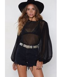 "Nasty Gal ""sleeve Me Out Of It Sheer Top"" - Black"