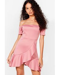 Nasty Gal Off The Shoulder Cocktail Wrap Dress - Pink