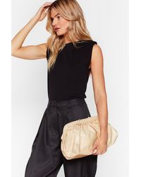 """Nasty Gal """"want Can You Slouch For 'em Faux Leather Bag"""" - Natural"""
