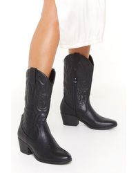 Nasty Gal The Midwest Faux Leather Cowboy Boots - Black