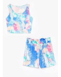 Nasty Gal Get Behind The Groove Tie Dye Crop Top And Shorts Set - Blue