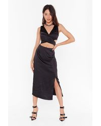 Nasty Gal Cut-out To Party Satin Midi Dress - Black