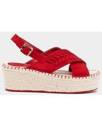 Nasty Gal Let's Get Stitched Espadrille Sandal - Red