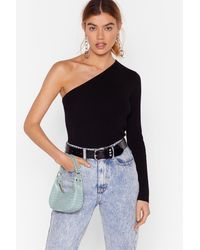 """Nasty Gal """"one More Time Knitted One Shoulder Top"""" - Black"""