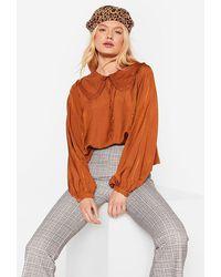 Nasty Gal Ruffle Cropped Collar Shirt - Multicolour
