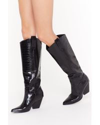 """Nasty Gal """"faux Leather Calf Design Croc Boots With Block Heel"""" - Black"""