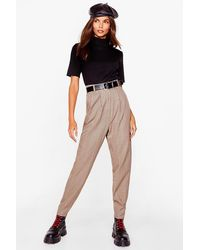 Nasty Gal Stand The Pleat Check Tapered Trousers - Natural
