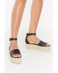 "Nasty Gal ""tumbled Pu Raffia Flatform Sandals"" - Black"
