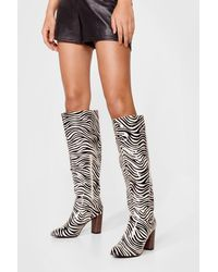 Nasty Gal Zebra Print Knee High Boots - Natural