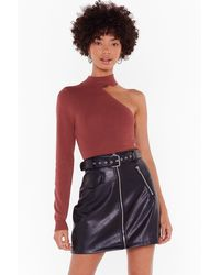 """Nasty Gal """"all For One Shoulder Ribbed Knit Top"""" - Red"""