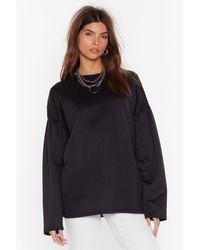 Nasty Gal Make 'em Sweat Oversized Puff Sleeve Sweatshirt - Black