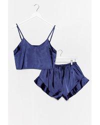 Nasty Gal Pyjama Crop Top & Short En Satin Rdv Avec Mon Lit - Bleu