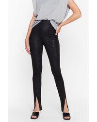 Nasty Gal Forget Me Croc Slit Hem Skinny Trousers - Black