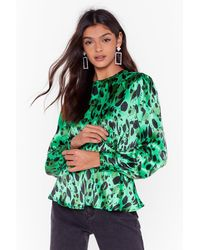 Nasty Gal Spot Nothing On You Abstract Satin Blouse - Green