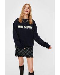 Nasty Gal Be Nice Slouchy Graphic Sweatshirt - Blue