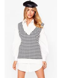 Nasty Gal We Houndstooth Love Knitted Tank Top - Multicolour