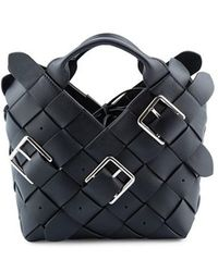 45f1c86a347 Loewe Solid Striped Leather Shoulder Bag in Black - Lyst
