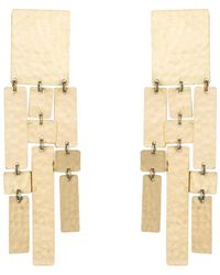 Natori - Josie Hammered Brass Drop Fringe Earrings - Lyst