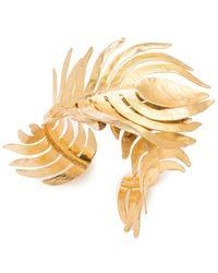 Natori Gold Plated Brass Peacock Cuff - Metallic