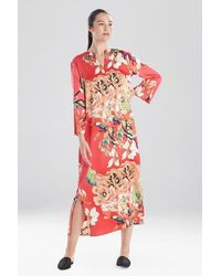 N Natori Enchanted Lotus Satin Zip Caftan - Multicolor