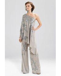 Josie Natori Couture Floral One-shoulder Caftan - Metallic